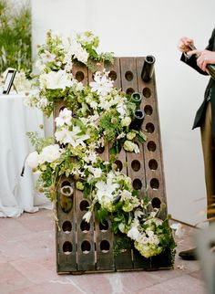 vintage riddling rack adorned with flowers. I just so happen to have a riddling rack if any brides out there want to do this :) Botanical Wedding, Floral Wedding, Wedding Flowers, Green Wedding, Wedding Pics, Wedding Blog, Diy Wedding, Wedding Stuff, Riddling Rack