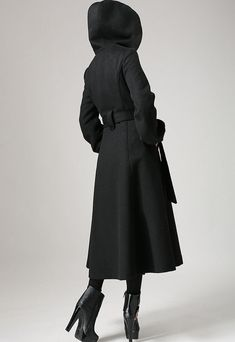 Black wool coat with tie belt waist long winter coat by xiaolizi I really need this in my life. I would not buy anything else if I had this coat. Simply gorgeous and just my style. Maxi Coat, Coat Dress, Blazers, Long Winter Coats, Black Wool Coat, Long Trench Coat, Swing Coats, Costume, Coats For Women