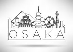 Minimal Vector Osaka City Linear Skyline with Typographic Design Art Drawings Sketches, Easy Drawings, Animation Sketches, Osaka, Diy Embroidery Patterns, City Drawing, City Sketch, Skyline Design, Composition Art