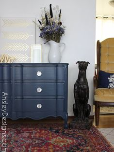 Navy Blue French Provincial Dresser with Crystal Knobs Decor, Furniture, French Provincial Dresser, Refinishing Furniture, Affordable Home Decor, White Interior, Personalized Decorative Pillow, Vintage Furniture, Custom Pillows