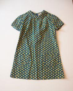 Adorable  Mod Navy and Yellow Floral Dress by lastprizevintage, $52.00