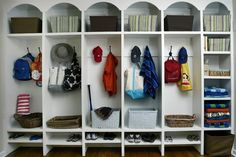 more mudroom lockers/cubbies Shoe Storage Solutions, Traditional House, Home Organization, Organizing Ideas, Organisation Ideas, Getting Organized, Foyer, Shelving, Sweet Home