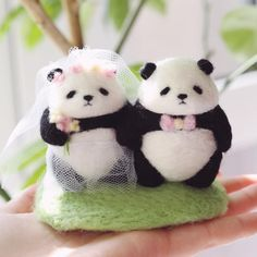 #needlefelting #羊毛毡 #panda #wedding Easy Felt Crafts, Felt Diy, Cute Crafts, Needle Felted Animals, Felt Animals, Wet Felting, Needle Felting, Baby Panda Bears, Cute Animal Drawings