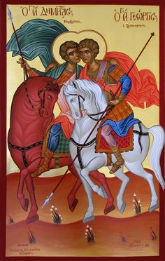 St Demetrios and St George, Greek icon Religious Images, Religious Icons, Religious Art, Byzantine Icons, Byzantine Art, Orthodox Catholic, Orthodox Christianity, Greek Icons, Church Icon