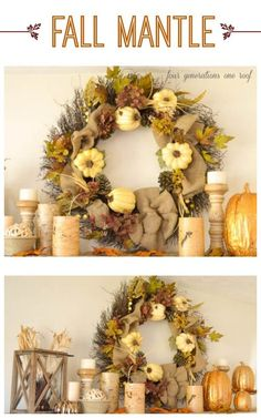 Decorating our rustic fall mantle with items from around our home - Four Generations One Roof