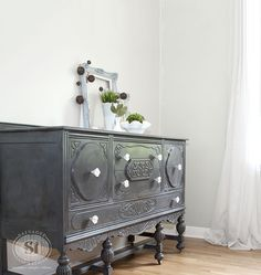 Vintage Buffet Painted w GF Driftwood