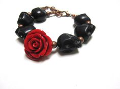 Skull Bracelet Day of the Dead Strand Jewelry by sweetie2sweetie, $21.99