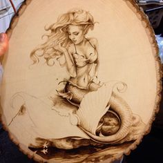 WIP commissioned wood burning of a mermaid.