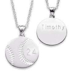 Buy Sterling Silver Engraved Baseball Necklace at Limoges