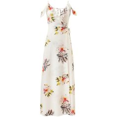 Cupshe Blaze of Flowers Off Shoulder Dress ($33) ❤ liked on Polyvore featuring dresses, flower printed dress, floral print dress, white floral print dress, off the shoulder floral dress and tie waist dress