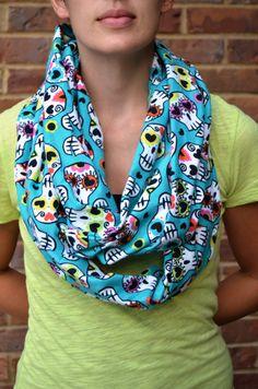 Sugar skulls scarf infinity scarf soft flannel by MohawkScarves