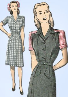 1940s Vintage Advance Sewing Pattern 3953 Uncut WWII Misses Dress Size 12 30B #Advance #DressPattern