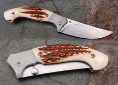 linerlock. ELMAX blade, handle ELMAX and deer antler, titanium