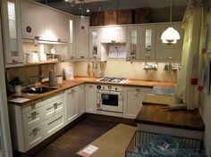 kuchnia biała drewniany blat brzoza - Szukaj w Google