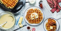 Yeasted Brussels waffles - needs to sit fro 90 minutes before using. A light batter means crispy waffles with deep golden pockets, perfect for holding whipped cream and a pool of maple syrup. Waffle Recipes, Chef Recipes, Brunch Recipes, Brunch Ideas, Best Belgian Waffle Recipe, Homemade Waffles, Savory Waffles, Crispy Waffle, Belgian Waffles