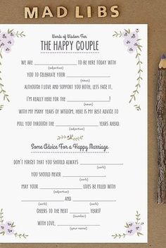 Mad Libs | 31 Free Wedding Printables Every Bride-To-Be Should Know About