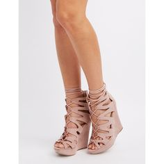 Charlotte Russe Caged Lace-Up Wedge Sandals ($29) ❤ liked on Polyvore featuring shoes, sandals, blush, lace up sandals, chunky wedge sandals, cut out sandals, caged sandals and charlotte russe shoes