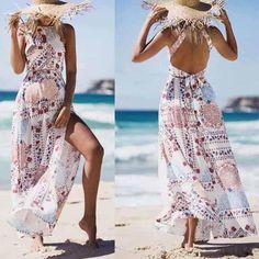 Fashion Bohemia Halter Floral Printed Backless Maxi Dress – Bellalike #bohochic #Summer2018  affiliate