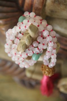 love compassion mala, rose quartz and aventrine, 108 knotted gemstone mala, meditation japa, prayer beads