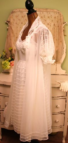 1950s Nightgown Set 50s White Lingerie Rockabilly