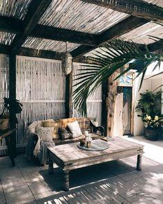 home_decor - 25 Small Farmhouse Patio Ideas Decor With Rustic Outdoor Rooms, Outdoor Living, Outdoor Decor, Outdoor Seating, Indoor Outdoor, Bamboo Roof, Gazebos, Design Jardin, Shed Design