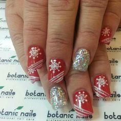 Christmas Themed Xmas Nails, Holiday Nails, Holiday Nail Designs, Nail Art Designs, Nails Design, Love Nails, How To Do Nails, Fancy Nails, Botanic Nails