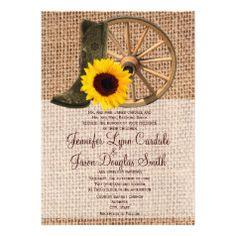 Country Burlap Cowboy Boots Sunflower Wedding Invitation