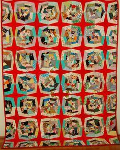 Vintage Sparkling Cobweb String Quilt, Rich Mid-Century Prints