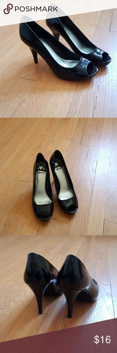 Fergalicious peep toe patent leather pumps Comfy and gorgeous, these pumps are in very good condition. Worn once to a wedding but are a half size too big for me :( Fergalicious Shoes Heels