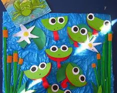 animaux rigolos Frogs in a pond…could be linked with the artist Winslow Homer and his piece Mink Pond Kids Crafts, Frog Crafts, Summer Crafts, Projects For Kids, Creative Activities, Activities For Kids, Frog Bulletin Boards, Frog Theme, Paper Plate Crafts
