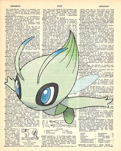Celebi Pokemon Dictionary Print by MollyMuffinsPrints on Etsy