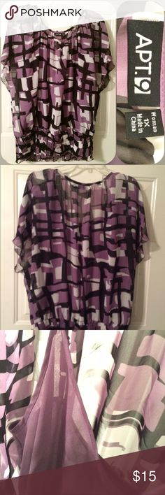 Business causal plus size 1x lined geo print top Size 1x! Like new! Light built in liner. Elastic waist and batwing sleeves. Purple white and black geometric / abstract print! Perfect office wear! Make me an offer! I ship next day! All bundles 20% off! Apt. 9 Tops Blouses