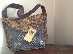 Upcycled Artsy Boho Shoulder Bag Rich Dark Earth by itzaChicThing