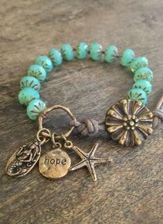 "Mermaid & Starfish Knotted Leather Wrap Bracelet ""Hope"" Beach Chic Jewelry by Blissful"