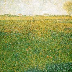 "Georges Seurat, ""Alfalfa Fields, Saint-Denis,"" oil on canvas. Dots of color mix optically in this painting. Georges Seurat, Paul Signac, Paul Gauguin, Claude Monet, Vincent Van Gogh, Seurat Paintings, French Art, Painting Techniques, Oeuvre D'art"