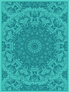 Mandala print from Nate Duval - Turquoise, Aqua & sea glass blue Z Vert Turquoise, Shades Of Turquoise, Aqua Blue, Shades Of Blue, Turquoise Cottage, Turquoise Pattern, Peacock Blue, Mandalas Painting, Mandalas Drawing