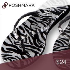 Super Sale!!Zebra Print Shiny Flip Flops Super cute flip flops! Get your pair! Shoes
