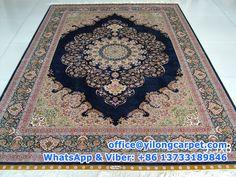 5.5' x 8' (168cm x 244cm) dark blue Turkish knots silk carpet made by Yilong Carpet.