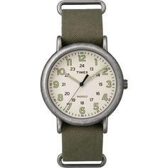 Timex Weekender® Oversized Watch - Tan Dial/Antique Chrome/Olive Strap