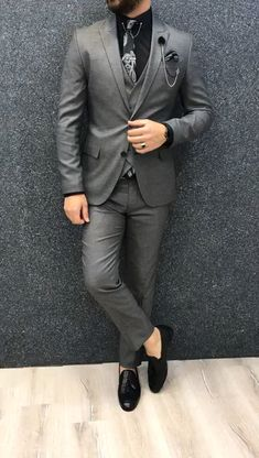 Name: GentWith Asmo Gray Slim Fit Wool Suit Collection: Fall – Winter . - Name: GentWith Asmo Gray Slim Fit Wool Suit Collection: Fall – Winter Product: Slim-Fit W - Mens Casual Suits, Dress Suits For Men, Classy Suits, Stylish Suit, Stylish Mens Outfits, Suit For Men, Grey Suit Men, Formal Suits For Men, Man In Suit