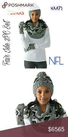 New England Patriots NFL Fair Isle Scarf 3PC Set Touch by Alyssa Milano Officially Licensed NFL Fair Isle Knit 3pc Set   Don't let a little thing like cold weather keep you from the game. You're a true super fan! Show up and cheer on your favorite team with this warm, Fair Isle knit 3-piece set. You'll be glad you did when the game goes into overtime.  What You Get Pair of 5-finger pull-on gloves Beanie-style hat with pom pom at top Wide infinity-style loop scarf Please lmk if you have any…