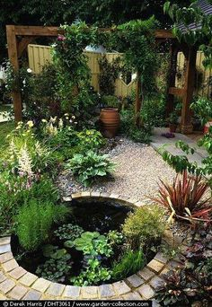 Small yard design with pergola, water feature Backyard Water Fountains, Backyard Water Feature, Ponds Backyard, Backyard Pergola, Backyard Ideas, Pond Ideas, Pergola Kits, Patio Ideas, Garden Ideas