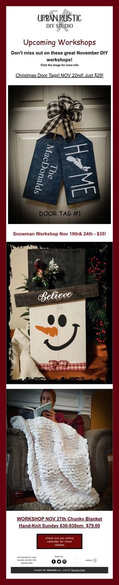 Don't miss out on these great November DIY workshops! Click the image for more info Urban Rustic, Door Tags, Chunky Blanket, Diy Workshop, Christmas Door, Burlap Wreath, Hand Knitting, Snowman, November