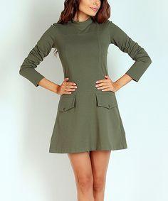 Love this Khaki Turtleneck A-Line Dress by NAOKO on #zulily! #zulilyfinds