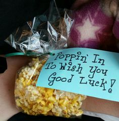 2014 Volleyball team snacks popcorn Poppin' in to wish you good luck