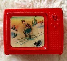 "Mini Doll Size Vintage Midcentury Tv Television Hologram Moving Skiier 2"" Red | eBay"