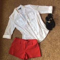 NWOT white/sheer/striped Express button up NWOT/never worn white button up top from Express. Casual/relaxed fit, sheer with white stripes. Express Tops Button Down Shirts