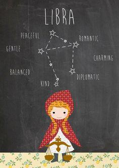 Zodiac Libra constellation ad traits Art Print