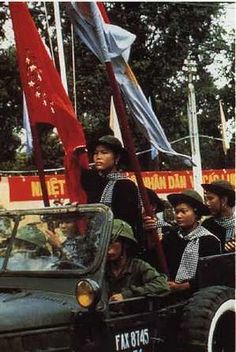 Saigon, Vietnam, 1975. Vietcong come triumphant in Saigon, after twenty years fighting for its independence.