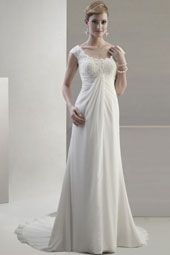 Pallas Athena wedding dress/gown- ivory sheath style wedding dress with lace, cap sleeves and straight across neckline. For the Bride Boutique Ft. Myers, Florida
